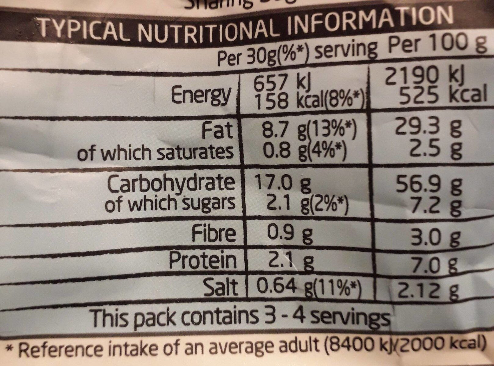 Walkers Bugles - Nutrition facts