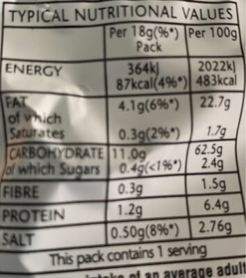 Smiths Frazzles Crispy Bacon Snacks 8 x - Valori nutrizionali