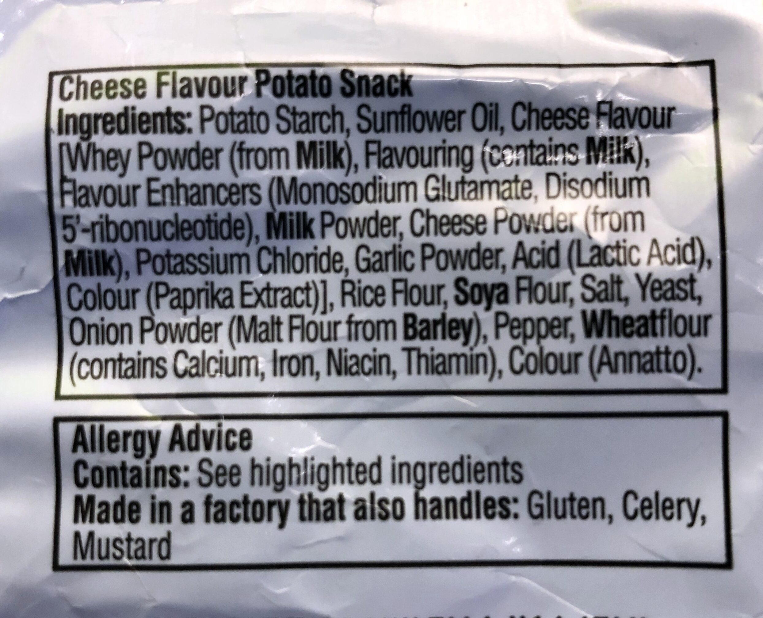 Quavers - Ingredients
