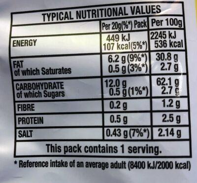 Quavers - Informations nutritionnelles