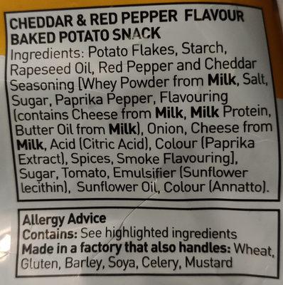 oven baked fusions cheddar & red pepper flavour - Ingrédients - en