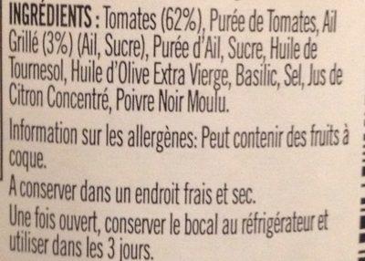 Tomato & Roasted Garlic - Ingrédients
