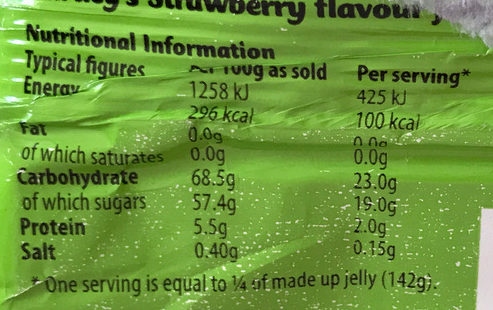 Hartley rapberry jelly - Nutrition facts