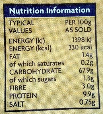Self Raising Flour - Nutrition facts