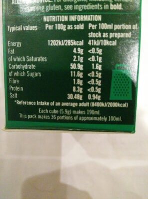 18 vegetable stock cubes - Nutrition facts