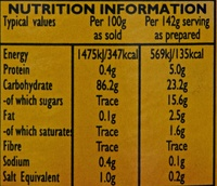 Custard Powder - Informations nutritionnelles