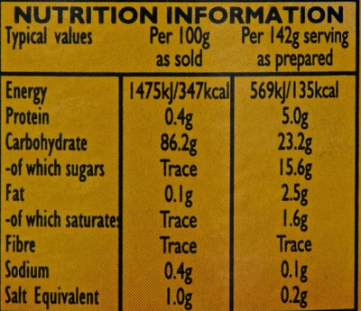 Custard Powder - Nutrition facts
