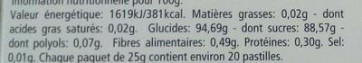 Pastilles menthol-eucalyptus - Informations nutritionnelles - fr