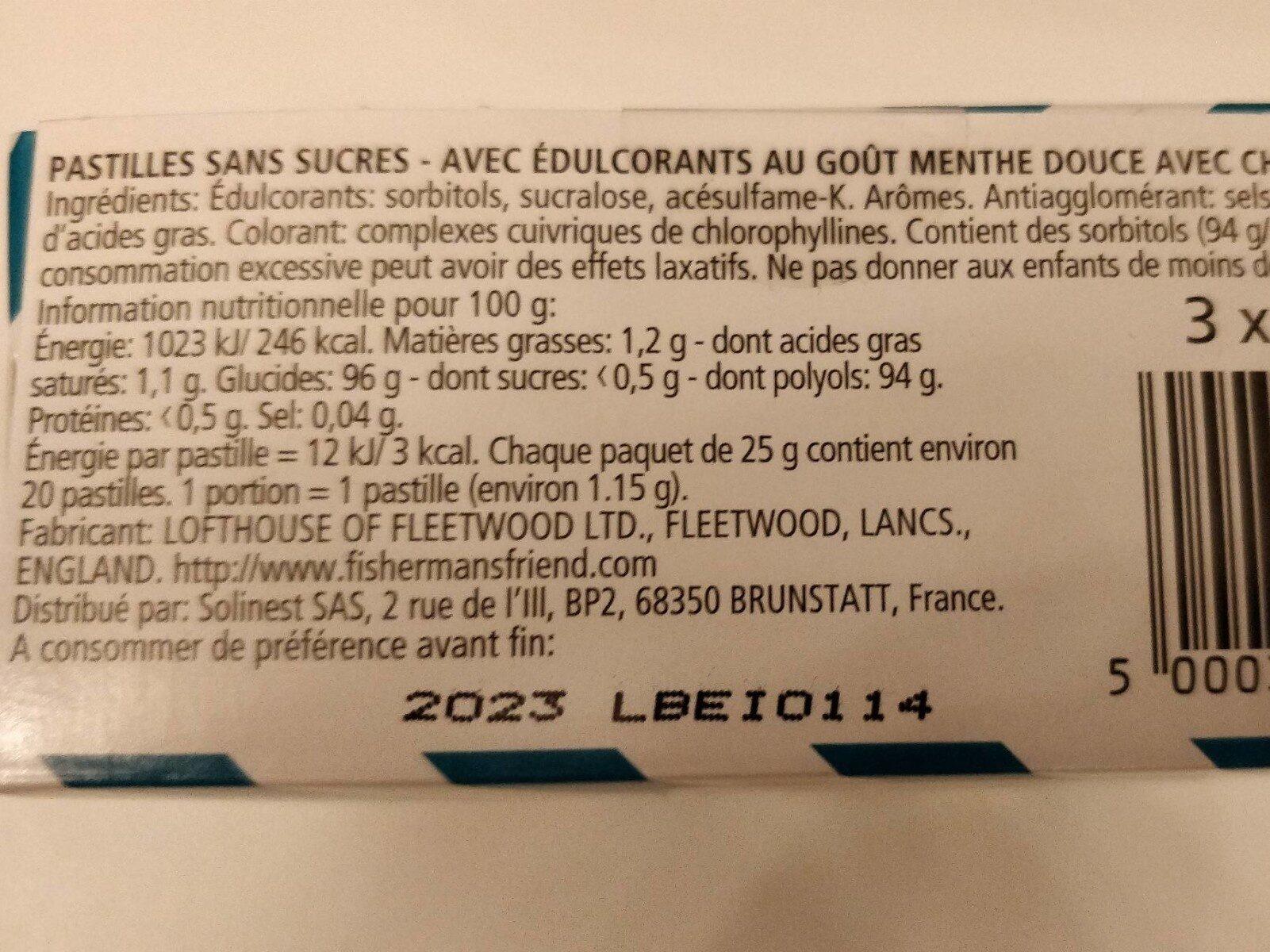 Menthe douce - Pastilles avec chlorophylle - Nutrition facts - fr