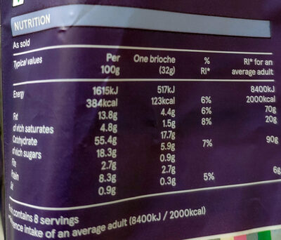Chocolate chip brioche rolls - Nutrition facts - en
