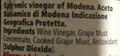 Balsamic Vinegar of Modena - Ingrédients - fr