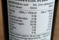 Balsamic Vinegar of Modena - Informations nutritionnelles - en