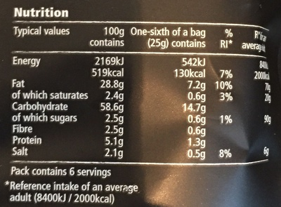 Sea Salt & Cider Vinegar - Nutrition facts - en