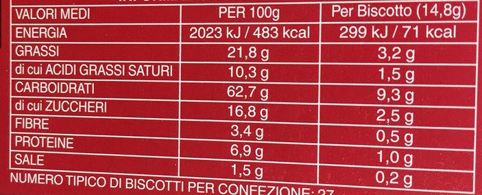 The Original Digestive - Informazioni nutrizionali