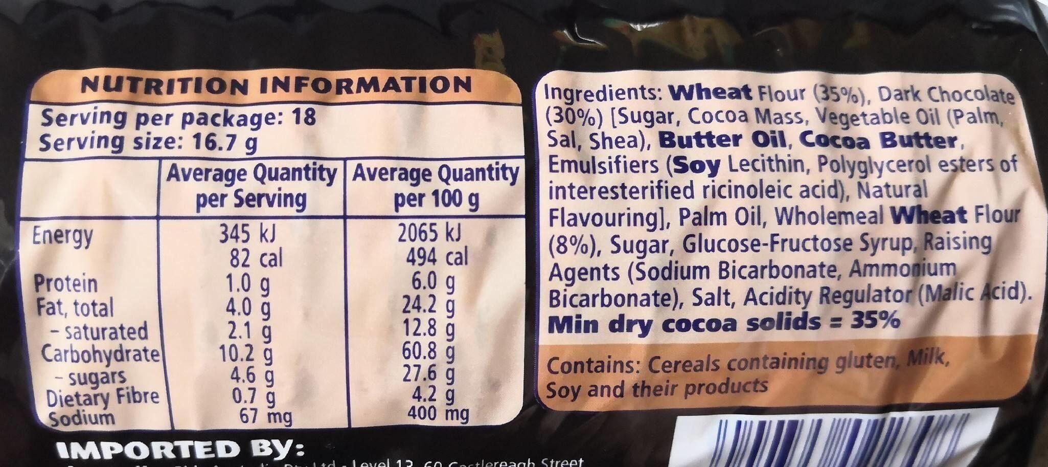 Digestive Mørk Chokolade - Nährwertangaben - en