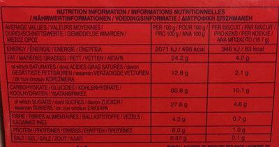 Digestive - Dark Chocolate - Informations nutritionnelles - fr