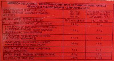 Digestive - Dark Chocolate - Nutrition facts - fr