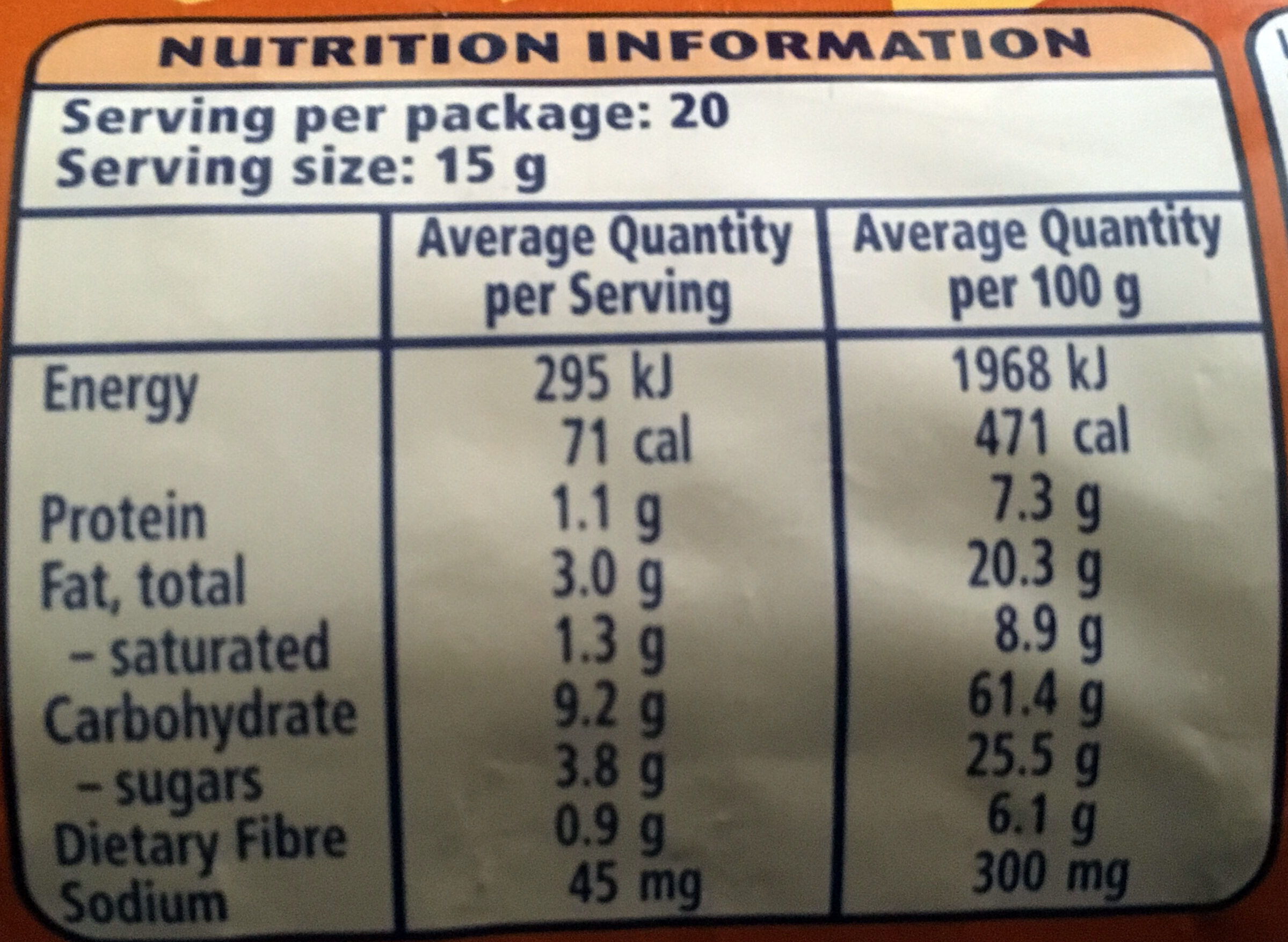 Mcvitie's Hobnobs - Nutrition facts - en
