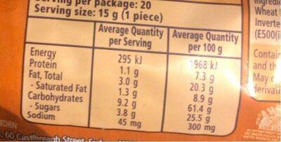 Hobnobs - Informations nutritionnelles - en