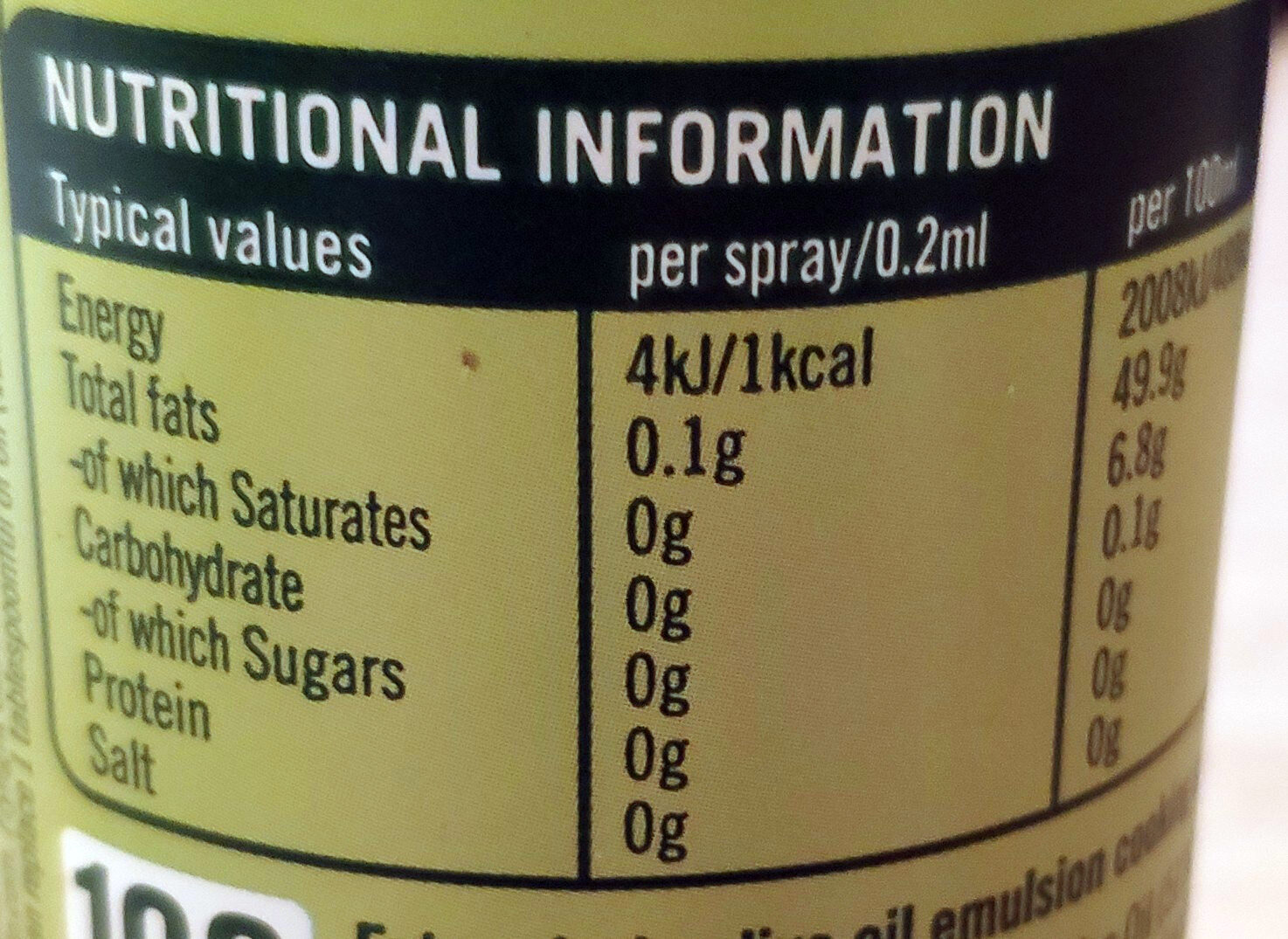 Extra Virgin Olive Oil Cooking Spray - Nutrition facts - en
