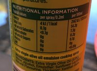 Extra Virgin Olive Oil Spray - Nutrition facts