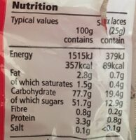 Strawberry Flavour Laces - Nutrition facts - fr