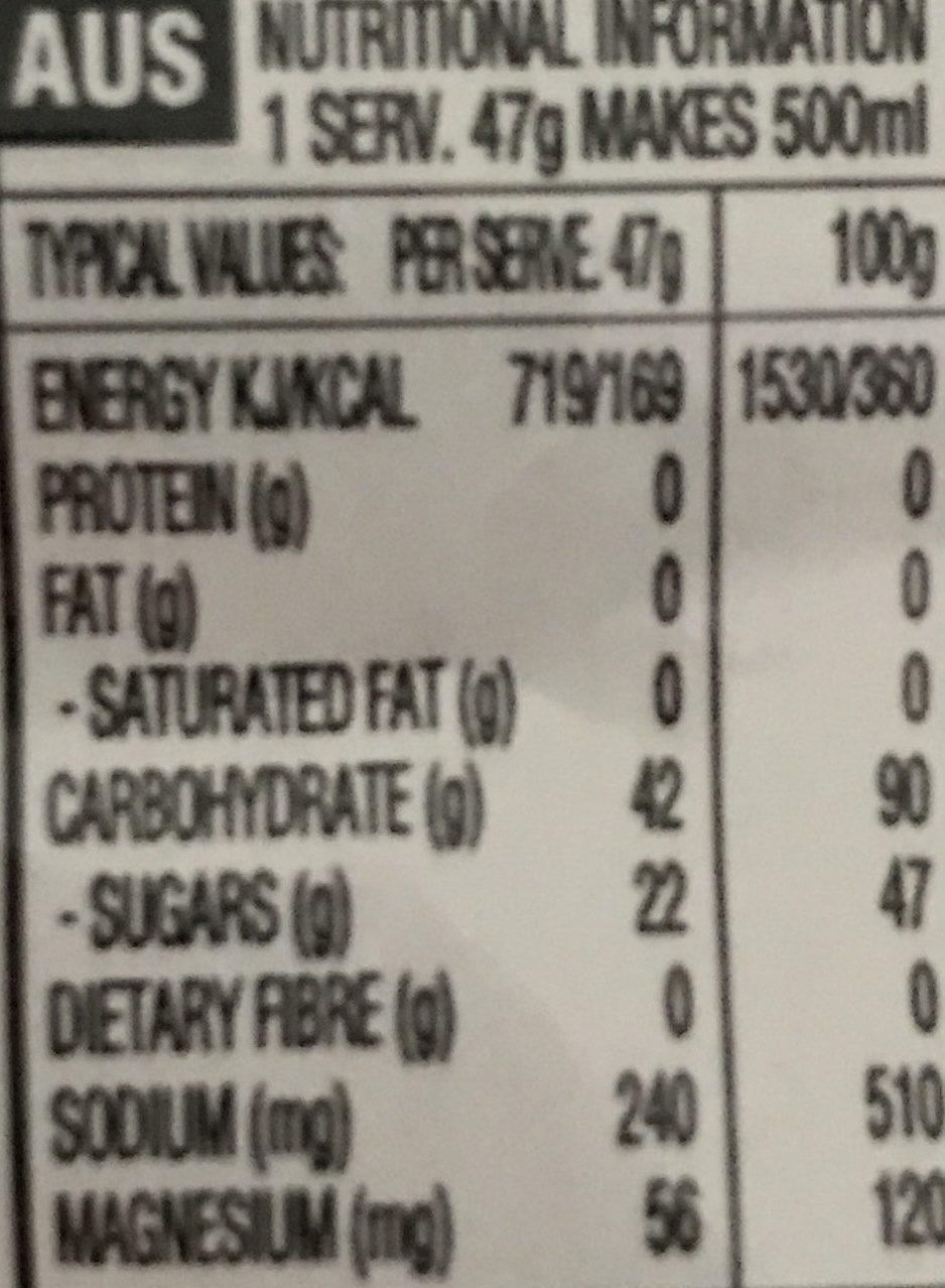 High 5 Energy Source Xtreme Citrus Sachet - Nutrition facts - fr