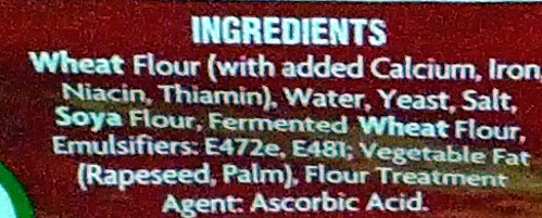 Hovis Soft White Medium Bread 800G - Ingredients - en