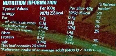 Hovis Soft White Medium Bread 800G - Nutrition facts - en
