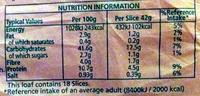 Chia bread - Nutrition facts