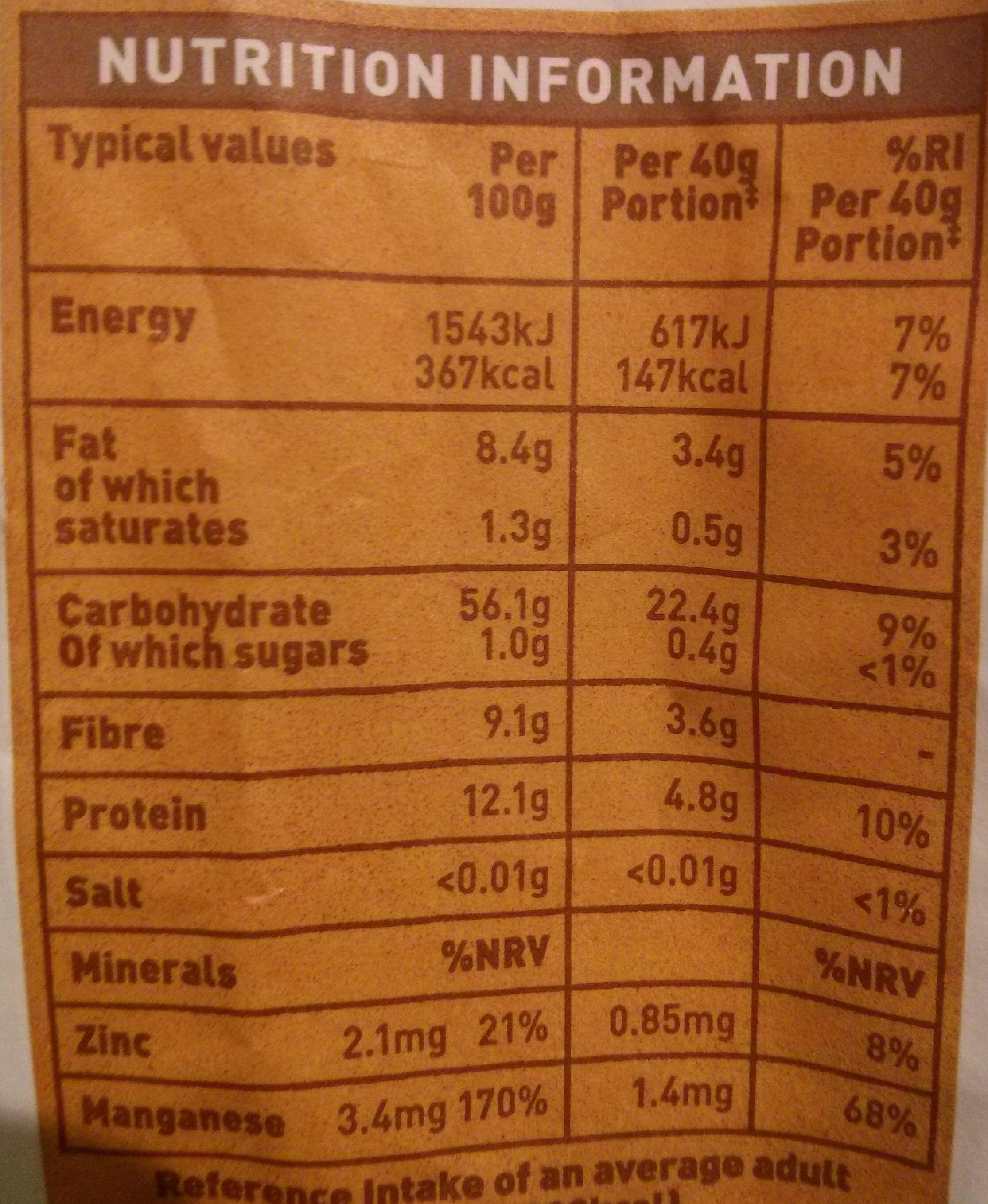 Oats - Nutrition facts - en