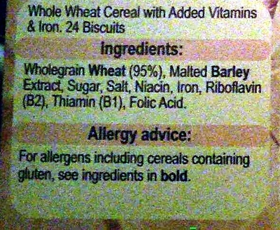 Weetabix - Ingredients