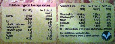 Weetabix - Voedingswaarden - en