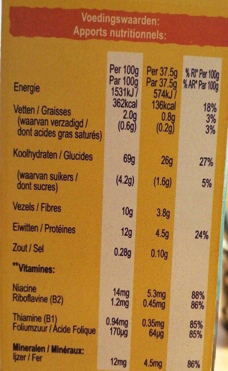 Weetabix Original 95% Blé Complet - Nutrition facts - fr
