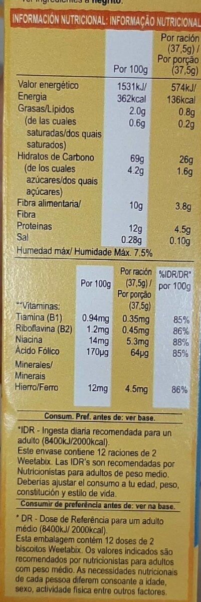 Weetabix Original - Nutrition facts - en