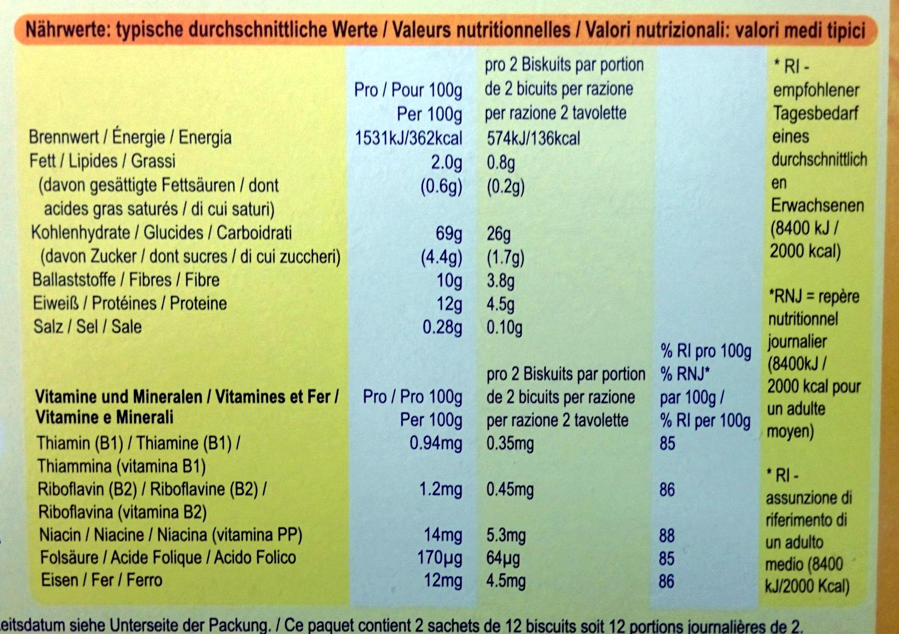 Weetabix Original - Información nutricional - de