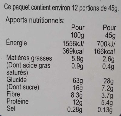 Alpen - No Added Sugar - Informations nutritionnelles