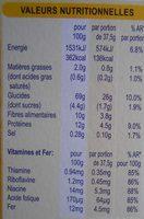 Blé complet original - Nutrition facts - fr