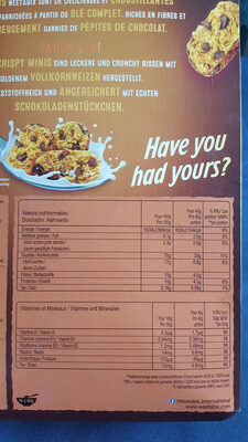 Crispy Minis Chocolate chip - Nutrition facts - fr
