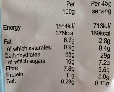 No Added Sugar Muesli - Informations nutritionnelles - fr