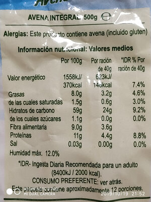Weetabix Avena Suave Oatibix - Ingredients - es