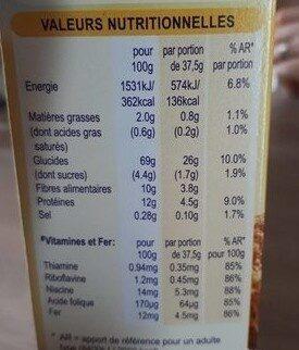 Céréales Weetabix 645g - Informations nutritionnelles - fr
