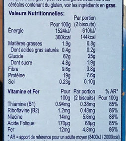 Weetabix Protein - Informations nutritionnelles