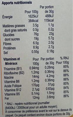 Weetos Anneaux Multi-Céréales - Nutrition facts