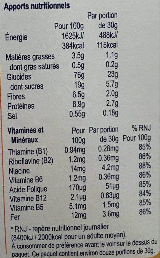Weetos Anneaux Multi-Céréales - Informations nutritionnelles - fr