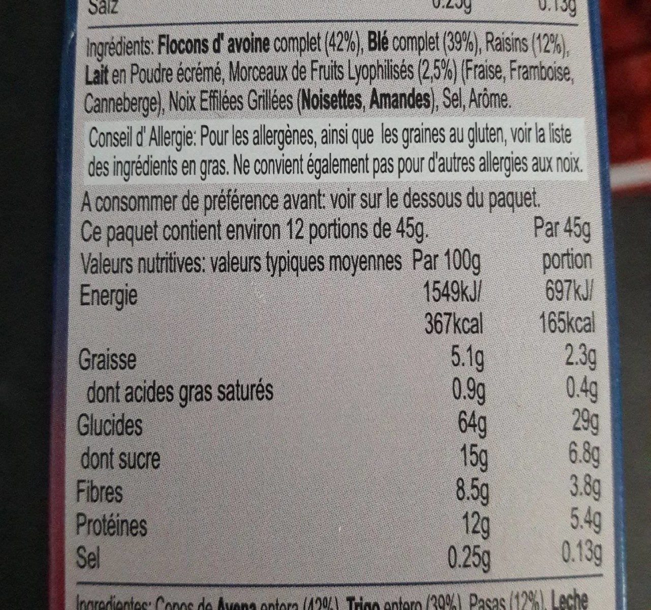 Strawberry, cranberry and raspberry muesli - Información nutricional - fr