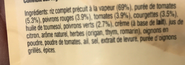 Riz complet à la méditerranéenne, 250g - Ingredients - fr