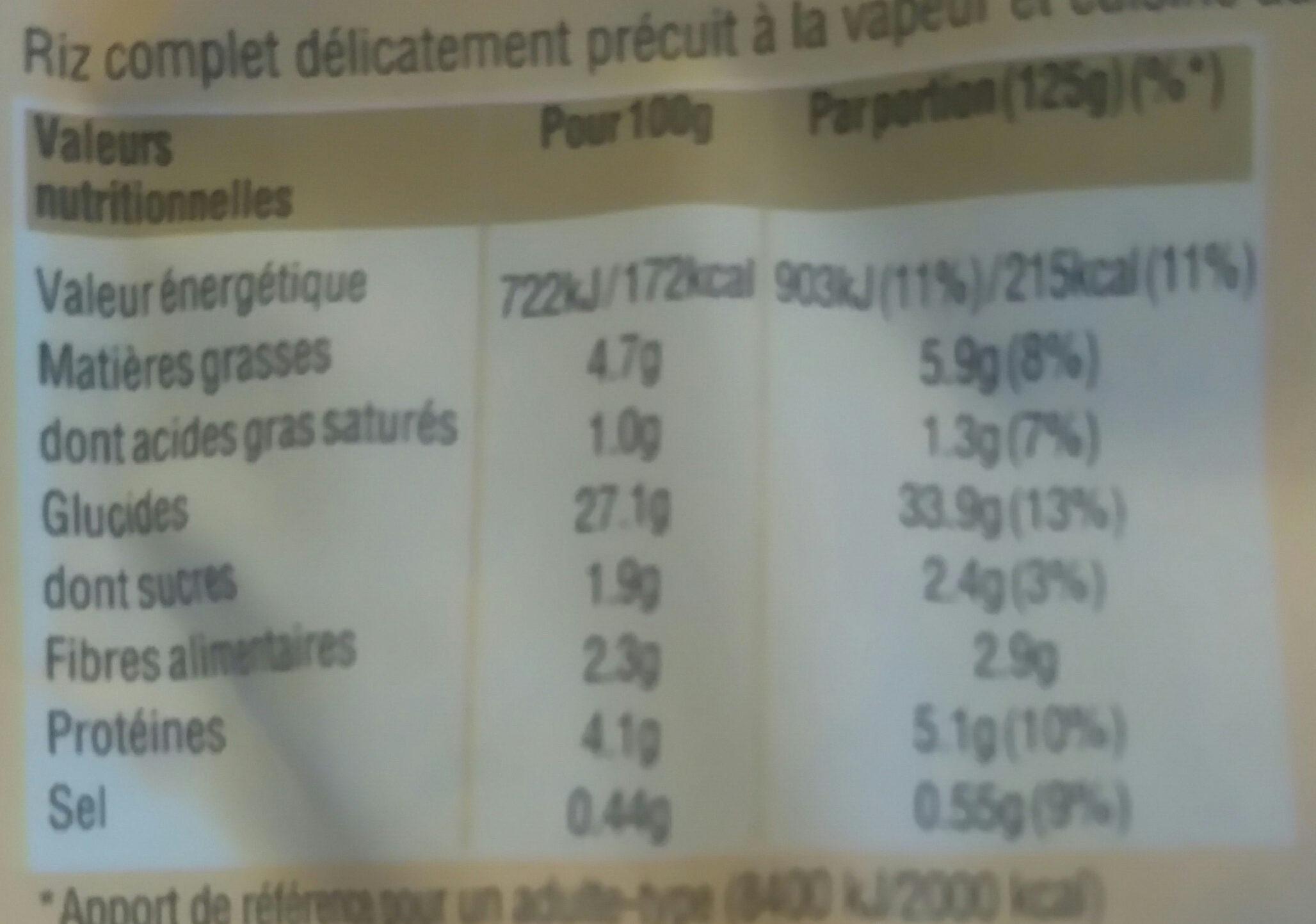 Riz complet à la méditerranéenne, 250g - Nutrition facts - fr