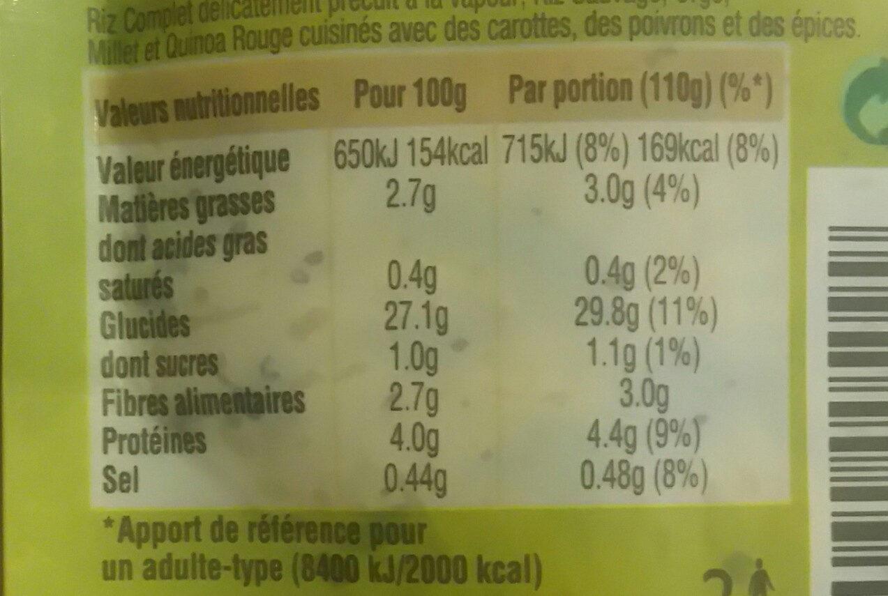 Melange de 5 cereales au curry - Informations nutritionnelles - fr