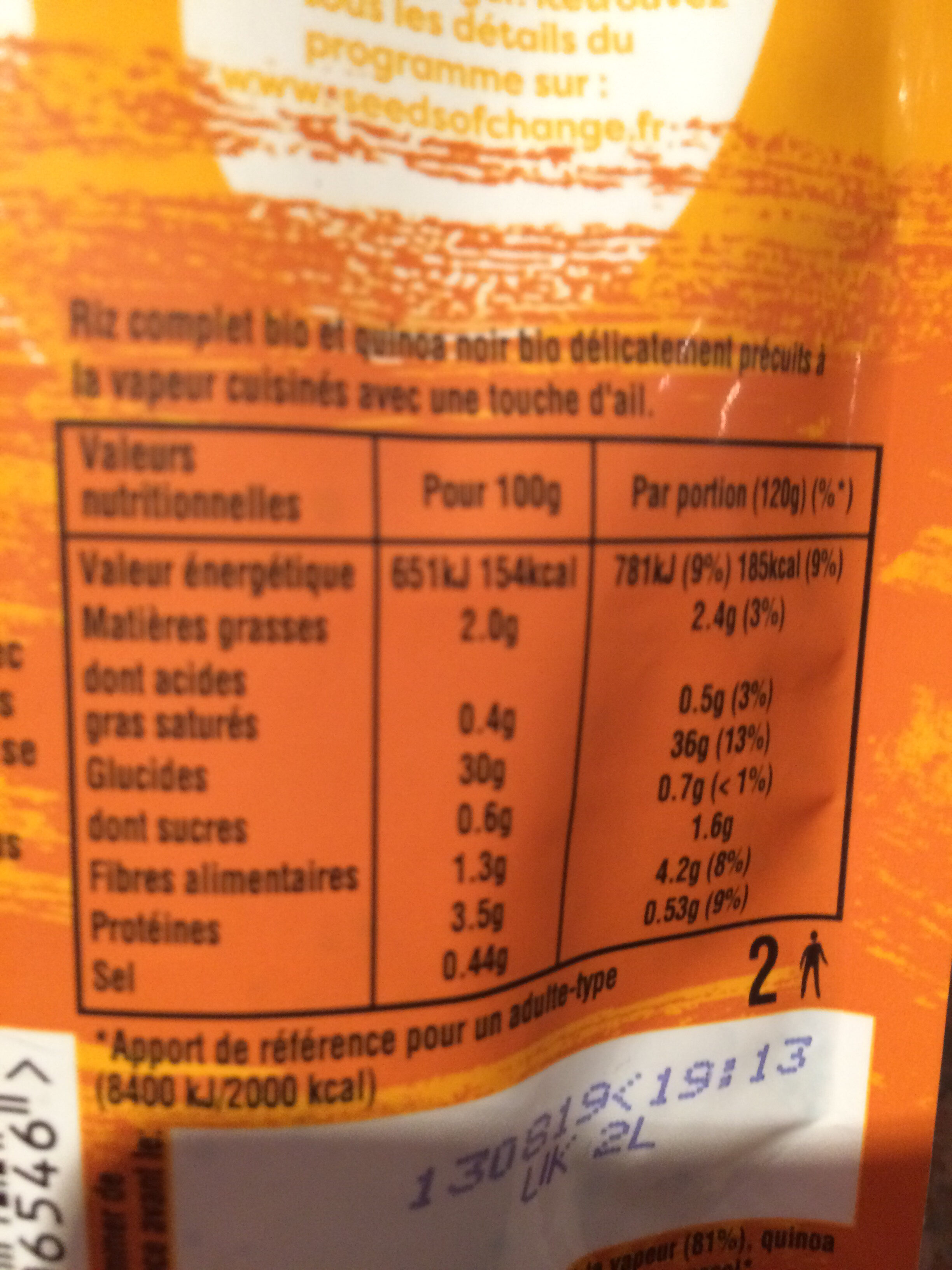 Riz complet & Quinoa - Voedingswaarden - fr